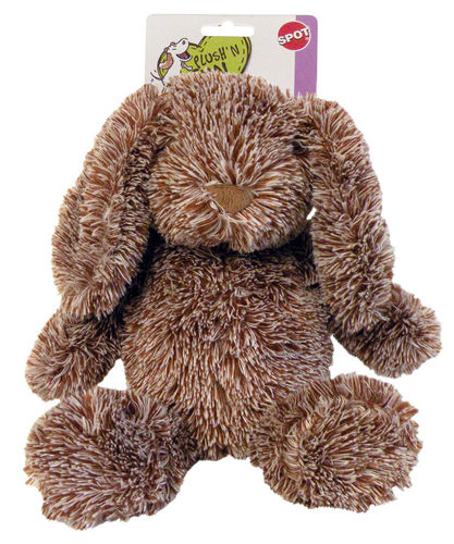 DOG TOY BROWN CUDDLE BUNNIES SPOT 32cm